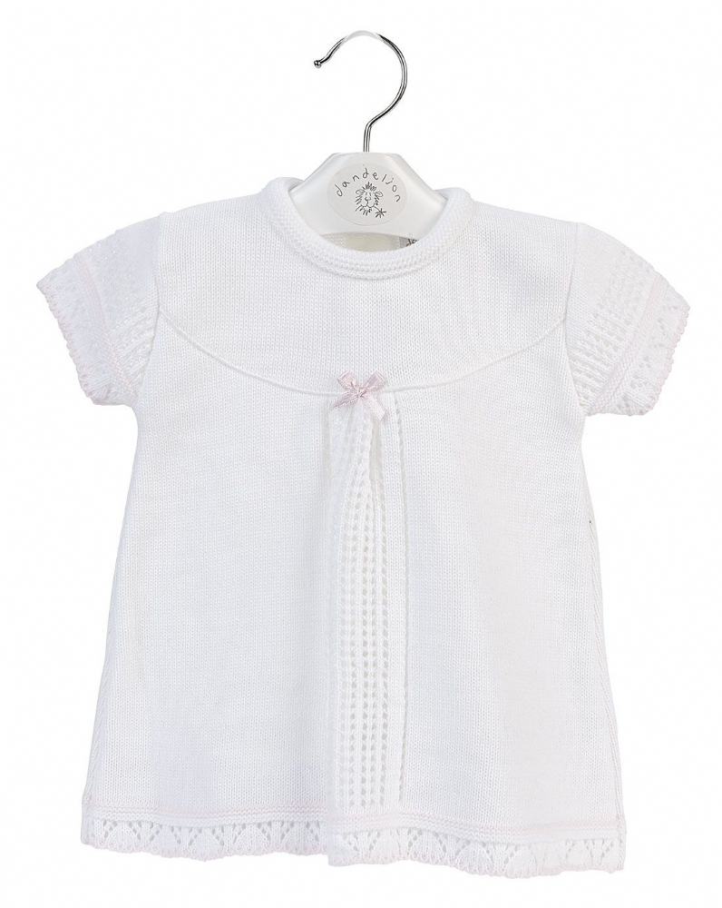 A2831W Girls Pointelle knitted Baby Dress